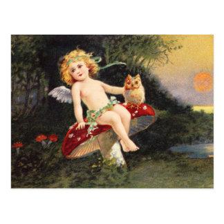 Clapsaddle: Little Cherub on Mushroom Postcard