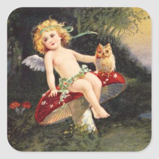 Clapsaddle: Little Cherub on Mushroom Square Sticker