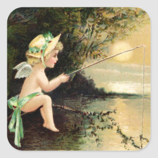 Clapsaddle: Little Cherub with Fishing Rod Square Sticker