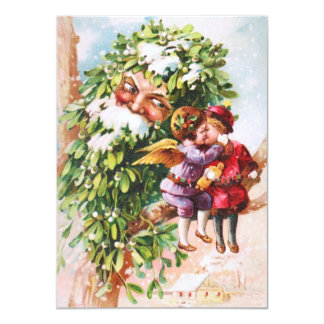Clapsaddle: Mistletoe Father with Angels 4.5x6.25 Paper Invitation Card