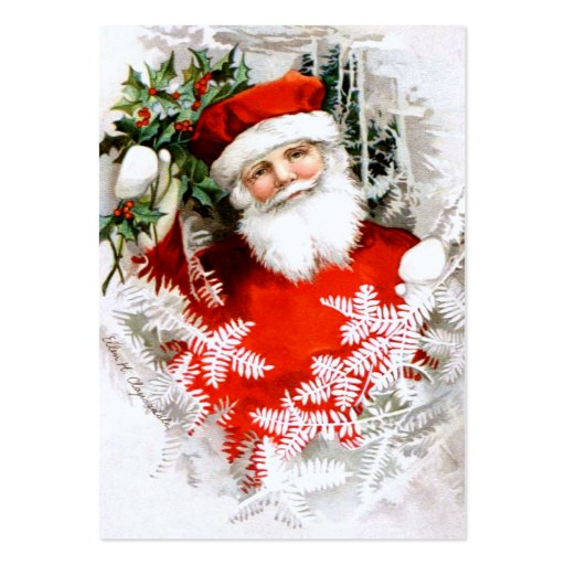 Clapsaddle: Santa Claus with Holly Business Card Templates