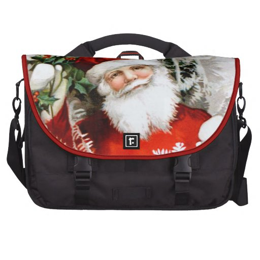 Clapsaddle: Santa Claus with Holly Laptop Commuter Bag