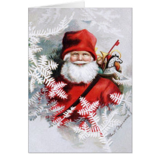 Clapsaddle: Santa Claus with Toys and Fir Twigs Card