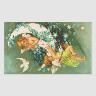 Clapsaddle: Two Cherubs on a Sickle Moon Rectangular Sticker