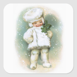 Clapsaddle: Winter Boy with Fir Twig Square Sticker