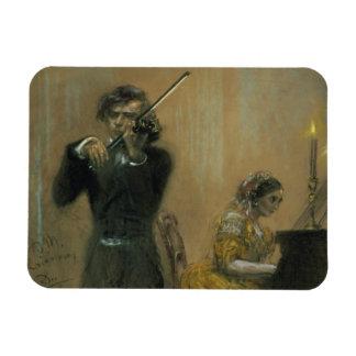 Clara Schumann (1819-96) and a Violinist, 1854 (pa Rectangular Photo Magnet