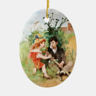 Clare with Boy and Crutch Ceramic Ornament
