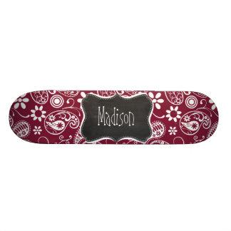 Claret Paisley; Floral; Vintage Chalkboard Skateboard Decks