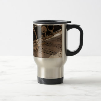 Clarinet and Music Sheets Travel Mug
