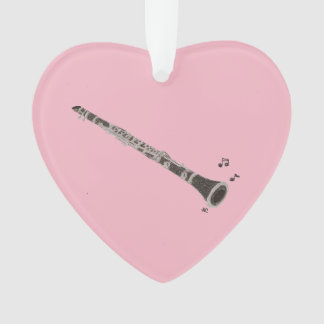 Clarinet heart-shaped Christmas ornament