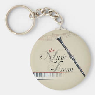 Clarinet Music Room Basic Round Button Key Ring