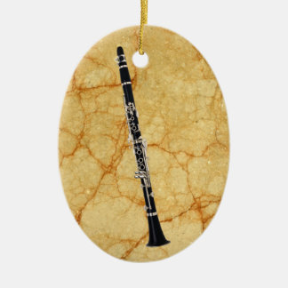 Clarinet on Marble Oval Pendant Ornament