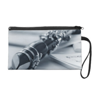 Clarinet on Music Sheets Wristlet