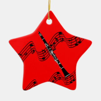 Clarinet on Star-shaped red Christmas ornament