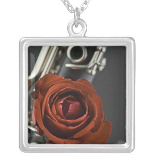 Clarinet Red Rose Necklace