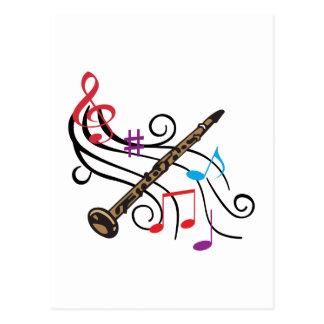 CLARINET WITH MUSIC POSTCARD