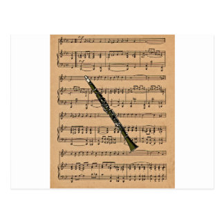 Clarinet With Sheet Music Background Postcard