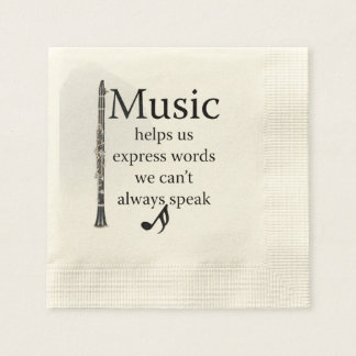 Clarinets Music Helps Us Express Words Kitchen Disposable Napkin