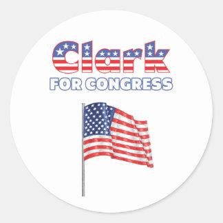 Clark for Congress Patriotic American Flag Round Sticker
