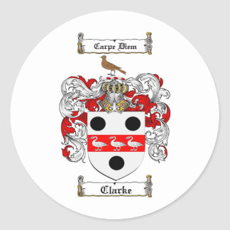 CLARKE FAMILY CREST -  CLARKE COAT OF ARMS ROUND STICKER