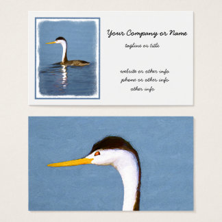 Clark's Grebe Painting - Original Bird Art Business Card