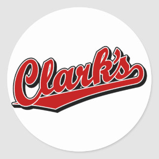 Clark's in Red Round Stickers