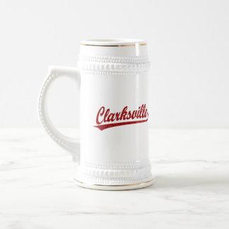 Clarksville script logo in red beer steins