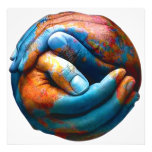 Clasped Hands Forming Planet Earth World Peace Photo Art