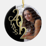 Class 2012 Graduation Photo Gold and Black Round Ceramic Decoration