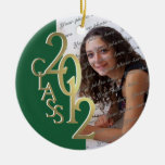 Class 2012 Graduation Photo Gold and Green Round Ceramic Decoration