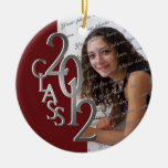 Class 2012 Graduation Photo Silver and Red Round Ceramic Decoration