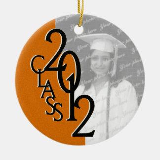 Class 2012 Orange Graduation Photo Round Ceramic Decoration