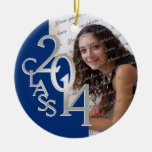 Class 2014 Graduation Photo Blue Silver Round Ceramic Decoration