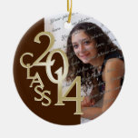 Class 2014 Graduation Photo Brown and Gold Christmas Ornament