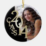 Class 2014 Graduation Photo Gold Round Ceramic Decoration