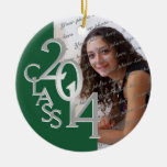 Class 2014 Graduation Photo Green and Silver Ornaments