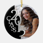 Class 2015 Graduation Photo Black and Silver Round Ceramic Decoration