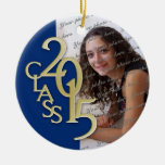 Class 2015 Graduation Photo Blue and Gold Round Ceramic Decoration