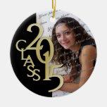 Class 2015 Graduation Photo Gold Round Ceramic Decoration