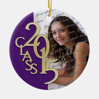 Class 2015 Graduation Photo Purple Round Ceramic Decoration