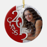 Class 2015 Graduation Photo Red and Silver Round Ceramic Decoration