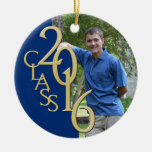 Class 2016 Blue and Gold Graduate Photo Round Ceramic Decoration