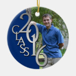 Class 2016 Blue and Silver Graduate Photo Round Ceramic Decoration