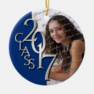 Class 2017 Graduation Photo Blue and Silver Ceramic Ornament
