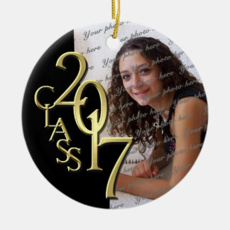 Class 2017 Graduation Photo Gold and Black Ceramic Ornament