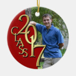 Class 2017 Red and Gold Graduate Photo Round Ceramic Decoration