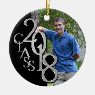 Class 2018 Black and Silver Graduate Photo Ceramic Ornament