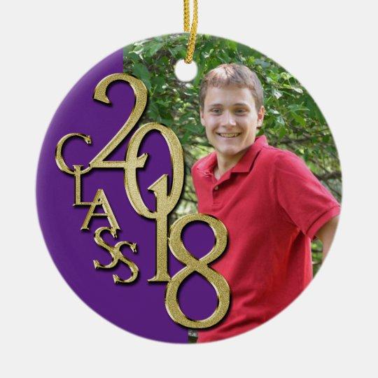 Class 2018 Purple and Gold Graduate Photo Ceramic Ornament