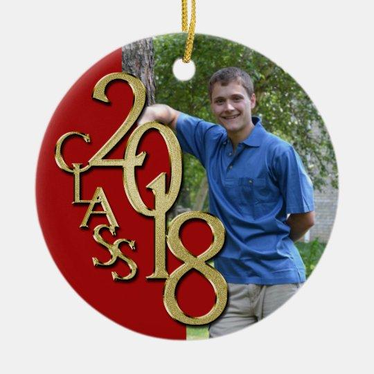 Class 2018 Red and Gold Graduate Photo Ceramic Ornament