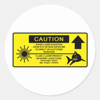 Class 4 Laser Shark Round Sticker